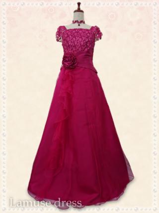 【Lサイズ】舞踏会ロングドレス・ピンク袖付き 8041/演奏会 ラミューズドレス通販
