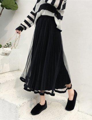 ブラック★ベロア素材★チュールプリーツロングスカート*ラミューズドレス