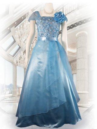 アザーブルー*袖付きロングドレス演奏会ステージドレス