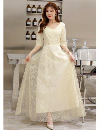 【4XL大きいサイズ・袖付き】スパンコール煌めきロングドレス*シャンパンベージュ /演奏会