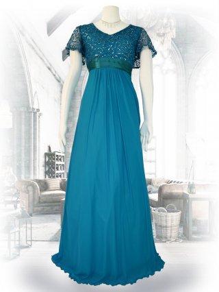 お袖付き女神ラインロングドレス*グリーン /演奏会ステージドレス