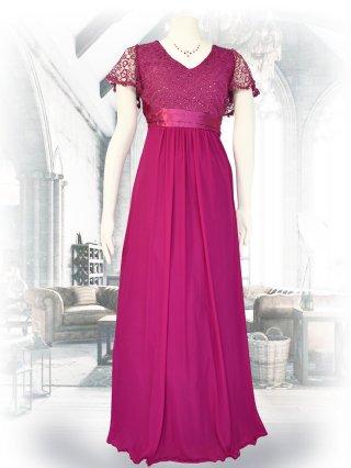 お袖付き女神ラインロングドレス*ピンク /演奏会ステージドレス