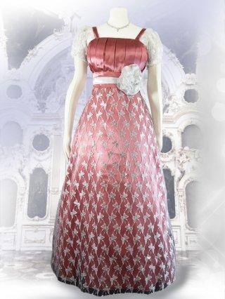 バタフライレース ホワイト×ピンク*袖付きロングドレス演奏会ステージドレス