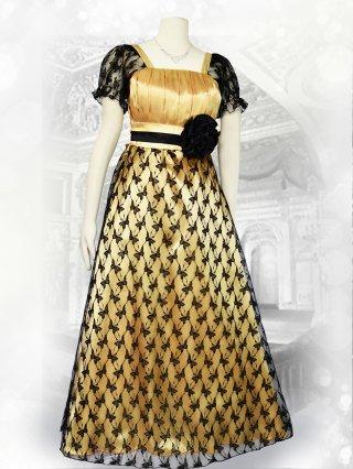 バタフライレース ゴールド×ブラック*袖付きロングドレス演奏会ステージドレス