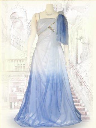 ヴィーナスAライン*ホワイト〜ライトブルー*ショール付きロングドレス 演奏会ステージドレス