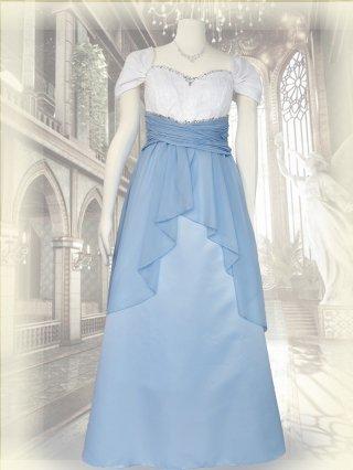 サックスブルー*ドレープ袖付きロングドレス 演奏会ステージドレス