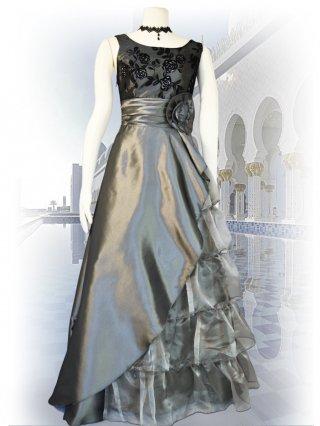 シルバー*5段ティアードフロッキードレス 演奏会ロングドレス
