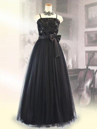 コード刺繍・チュールブラック ロングドレス9041/ 演奏会 ラミューズドレス通販