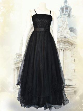 シンプルプリンセスドレス・ブラックロングドレス/ 演奏会 ラミューズドレス通販
