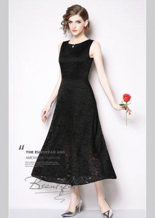 【4L・背の低い方に】レースフレアーロングドレス*ブラック ノースリーブ*演奏会衣装