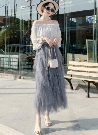 縦フリル グレーロングスカート*ラミューズドレス