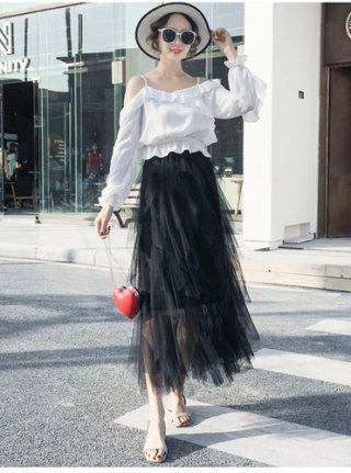 縦フリル ブラックロングスカート*ラミューズドレス