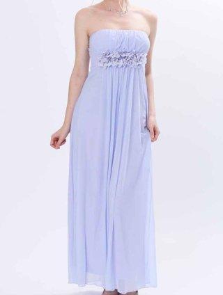 マカロンカラー☆ライトラベンダー コサージュ付ロングドレス4849/ 演奏会 ラミューズドレス通販