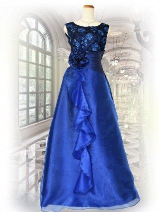 【9号】レース刺繍*ブルー*ロングドレス*ノースリーブ 演奏会ステージドレス