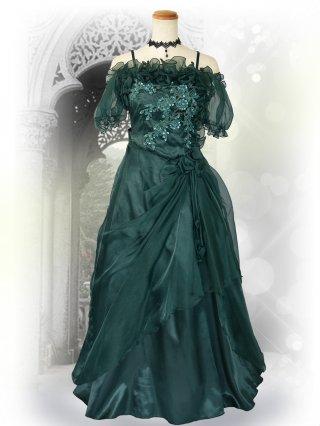 ふんわりオフショルダーグリーン*袖付きロングドレス演奏会ステージドレス