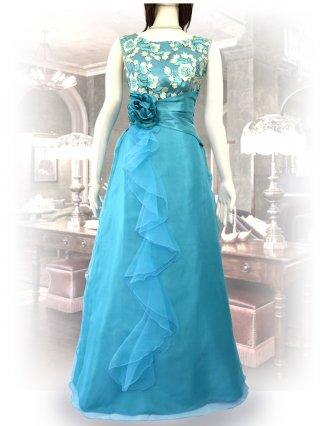 レース刺繍*ターコイズブルーロングドレス*ノースリーブ 演奏会ステージドレス