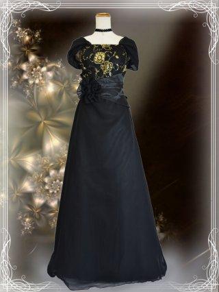 Bellブラック・袖付きロングドレス 9981 演奏会ステージドレス