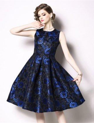 【5XL】ブルー 高品質ラメ織ワンピースドレス Aラインスカート/ 演奏会 ラミューズドレス通販