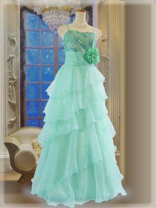 グリーン・オパール ロングドレス5298ステージドレス ラミューズ