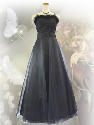 フェザーローズ・ブラック ロングドレス9986/ 演奏会 ラミューズドレス通販