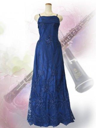 【L】濃紺*フローラル刺繍ロングドレス 3069 演奏会ステージドレス