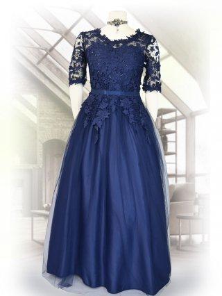 フラワーレース・ネイビーラメ お袖付きロングドレス  演奏会ステージドレス