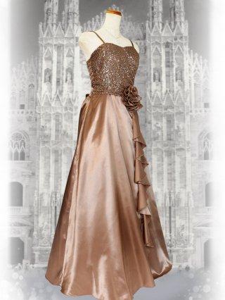 【M・L】シャーリングハート・ゴールド ロングドレス 2858 ステージドレス ラミューズ