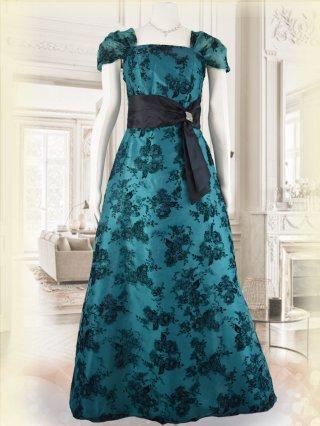 【M・L】フロッキーグリーン*袖付きロングドレス演奏会ステージドレス