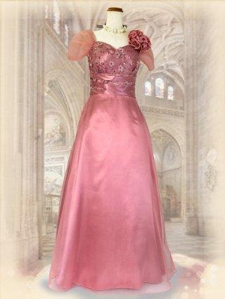 オールド・ローズ*ピンク*お袖付きロングドレス 演奏会ロングドレス