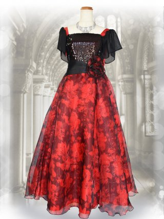 お袖付きビスチェ風 レッドプリントスカート演奏会ステージドレス