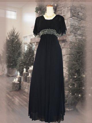 グレースドレス お袖ロングドレス ブラック 演奏会ステージドレス