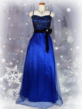 アラベスク刺繍・ブルー*ロングドレス/ 演奏会 ラミューズドレス通販