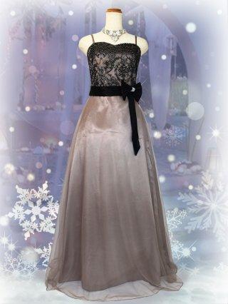 アラベスク刺繍・ベージュ*ロングドレス/ 演奏会 ラミューズドレス通販