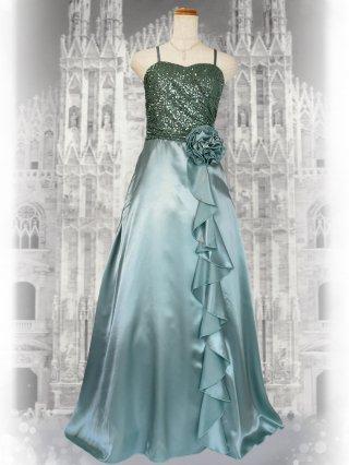 【M・L】シャーリングハート・グリーン ロングドレス 2858 ステージドレス ラミューズ