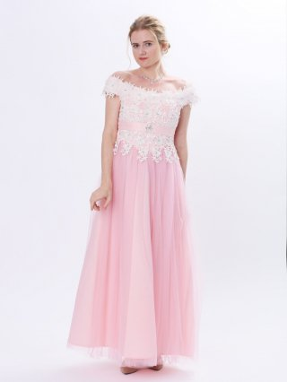 【M.L】マーガレットピンク*フレンチショルダーロングドレス 演奏会ロングドレス