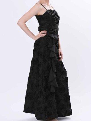 漆黒のローズ柄ブラックロングドレス オーケストラ5176伴奏 ステージ衣装の通販