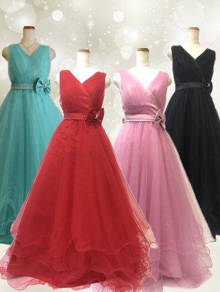 ゆったりサイズ*BIGリボン*プリンセスボリュームドレスロングドレス*3000 演奏会ステージドレス