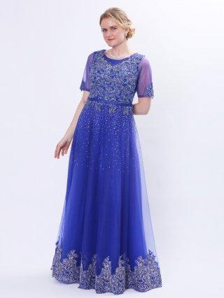 ロイヤルブルー★お袖付きステージドレス3367 ラミューズドレス演奏会