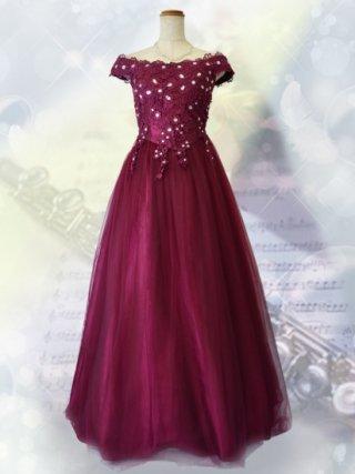 フレンチショルダードレス*レッド 1292 演奏会ロングドレス