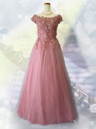 フレンチショルダードレス*ピンク 1292 演奏会ロングドレス