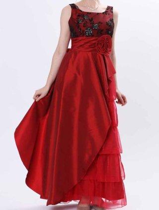 レッド*5段ティアードフロッキードレス 演奏会ロングドレス