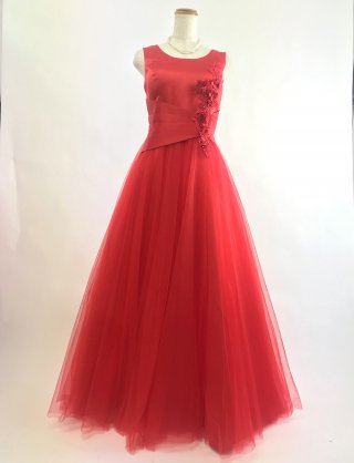 ノースリーブ*ソフトチュール*深紅レッドロングドレス*5174 演奏会ステージドレス