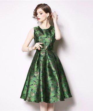 【XXL】グリーン&レッド 高品質ラメ織ワンピースドレス Aラインスカート/ 演奏会 ラミューズドレス通販