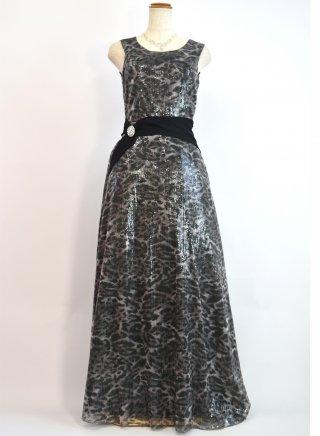 【M/L】ブラック*スパンコールレオパード柄ベルトデザインロングドレス 演奏会ロングドレス