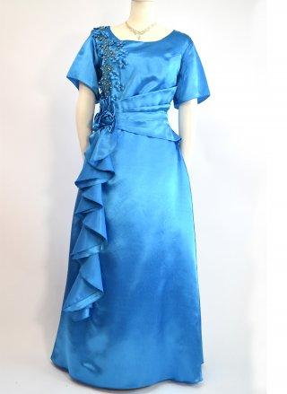 【4L大きいサイズ】ターコイズブルー袖付ステージロングドレス2714 /演奏会