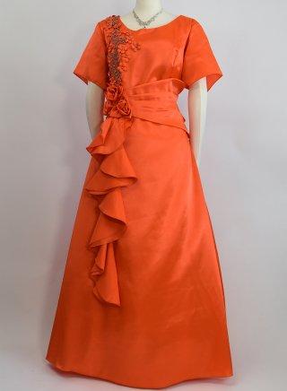 【4L大きいサイズ】オレンジ☆袖付ステージロングドレス2714 /演奏会