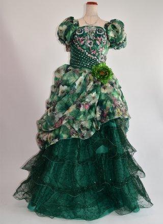 ミステリアスグリーン★お袖付きステージドレス4112 ラミューズドレス演奏会