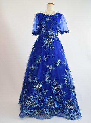 オーシャン袖付きロングドレス*ロイヤルブルー4099 / 演奏会 ラミューズドレス通販