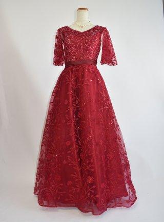 ワインレッドの総レース袖付きロングドレス*4113ラミューズドレス演奏会