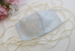 【L】夏用コットンシルクライトブルー*肌荒れしない!洗える!シルク50%小顔マスク☆コロナ対策・風邪・花粉対策・喉のケアに☆マスク